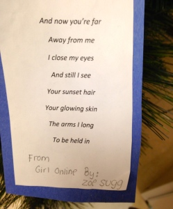 A poem displayed on our class Poet-Tree