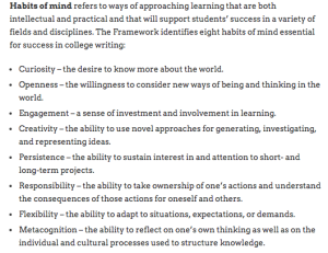 from Framework for Success in Postsecondary Writing