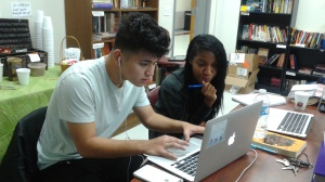 Diego and Tia deep into discussion around revisions.