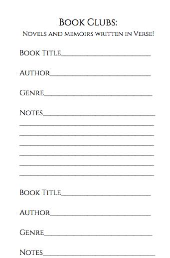 book club notes - verse