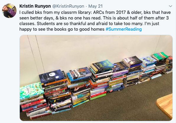 tweet about giving books